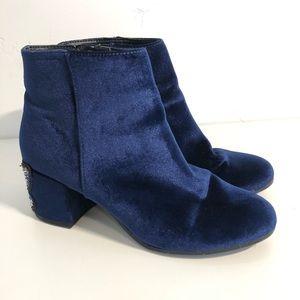 Libby Edelman Blue Velvet Butterfly Bling Booties